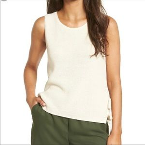 Madewell Side Tie Sleeveless Sweater In Rich Cream
